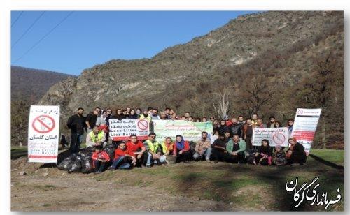 برنامه پاکسازی محیط به همراه کارگاه آموزشی در جنگل توسکستان شهرستان گرگان