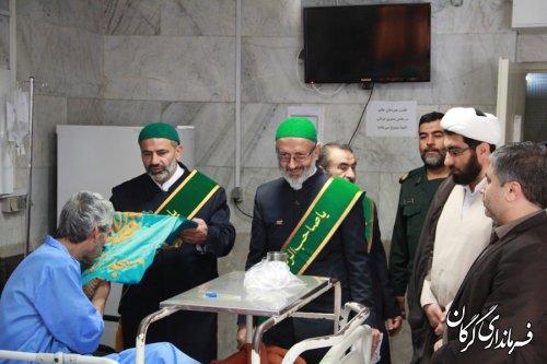حضور و دیدار خدام مسجدمقدس جمکران از بیماران بیمارستان 5آذر و خانواده شهیدان مدافع حرم