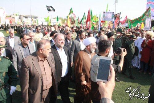 اجتماع بزرگ 20 هزار نفری بسیجیان مرحله دوم اقتدار عاشورایی محمد رسولالله (ص) 2 در گرگان برگزار شد