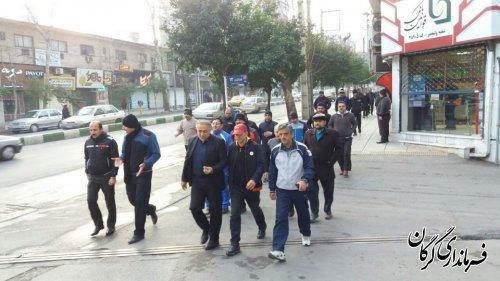 پیاده روی فرماندار شهرستان گرگان بهمراه کارکنان دستگاههای اجرایی از منزل تا محل کار