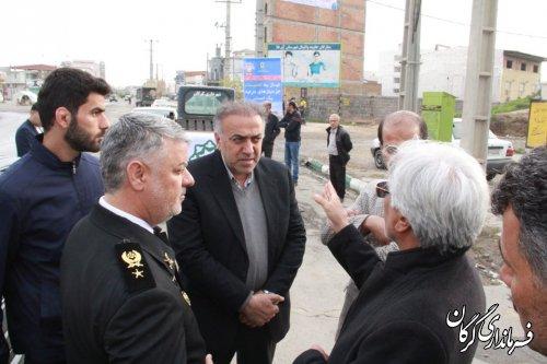 بازدید مشترک فرمانده نیروی دریایی ارتش به همراه فرماندار گرگان از مناطق سیلزده استان