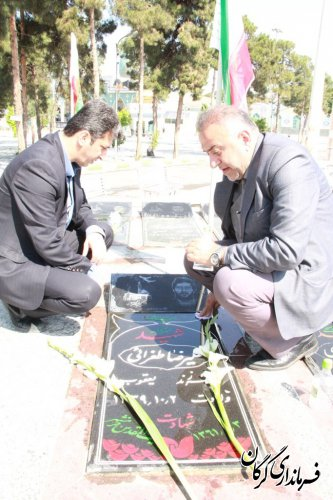مراسم غبار روبی و عطرافشانی مزار شهدا در شهر گرگان برگزار شد