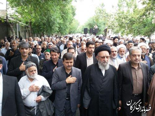 مراسم دسته روی متمرکز به مناسبت سالروز شهادت حضرت امام جعفر صادق (ع) در گرگان برگزار شد