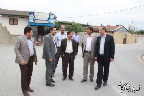 بازدید فرماندار گرگان ازطرح های هادی روستایی و آب بندان روستاهای بخش مرکزی