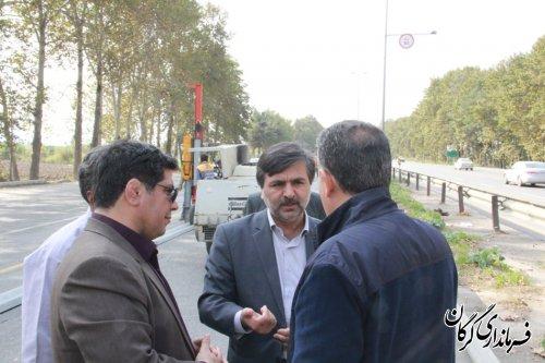 بازدید فرماندار گرگان از پروژه های درحال اجرای دور برگردان های سطح شهرستان