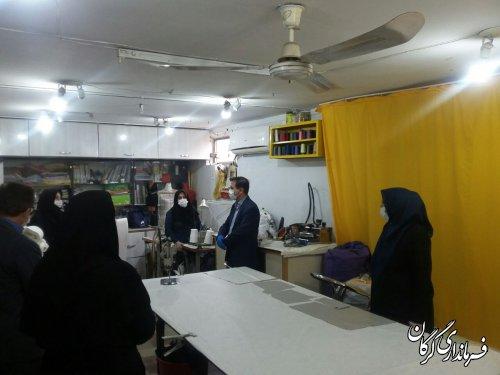 فرماندار شهرستان گرگان از کارگاه تولید گان و ماسک توسط انجمن اموزشگاههای خیاطی گرگان بازدید کرد