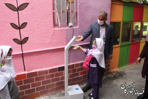 بازدید فرماندار از رعایت پروتکل های بهداشتی در مدارس گرگان