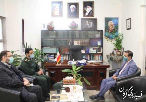 نشست محمد حمیدی فرماندار گرگان و سرهنگ کاظمی مدیرکل حفظ آثار و ارزش های دفاع مقدس