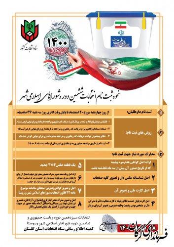 نحوه ثبت نام داوطلبان شرکت در انتخابات ششمین دوره شوراهای اسلامی شهر
